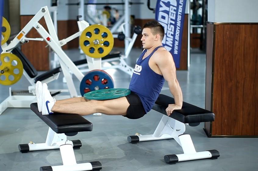 Упражнение Отжимания от скамьи с весом