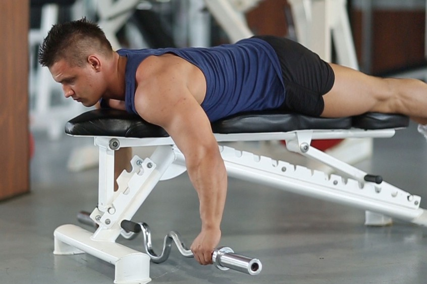 Exercise Lying Cambered Barbell Row