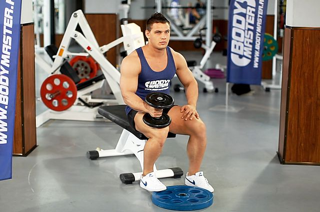 Photo of Dumbbell Seated One-Leg Calf Raise exercise