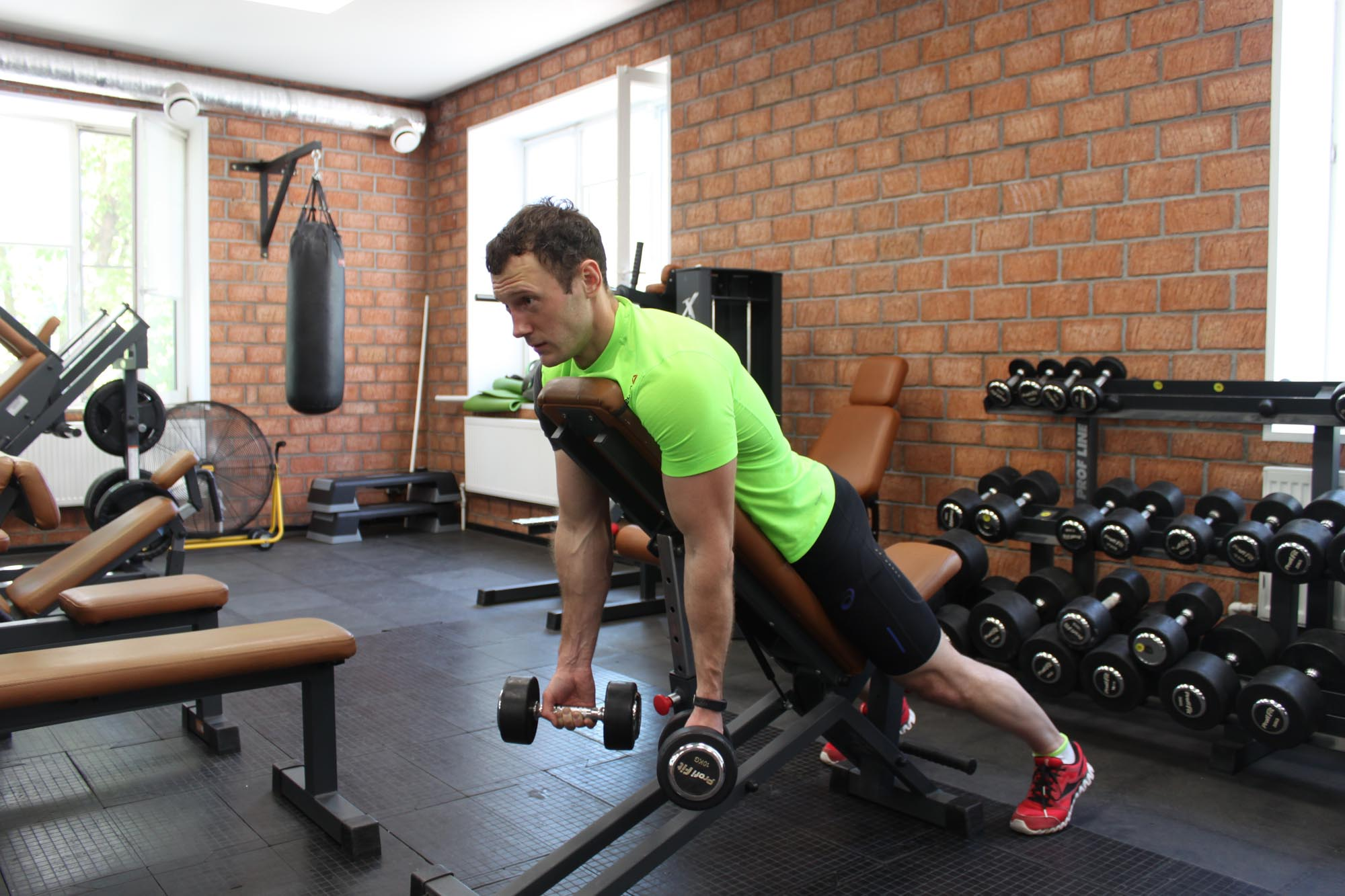 Exercise Dumbbell Prone Incline Curl
