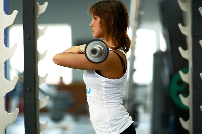 Exercise Front Barbell Squat To A Bench