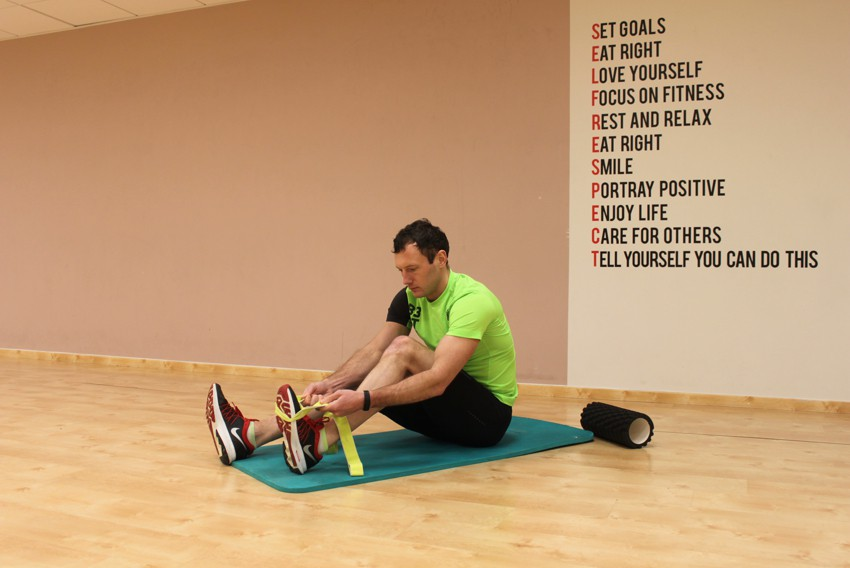 Exercise Seated Hamstring and Calf Stretch