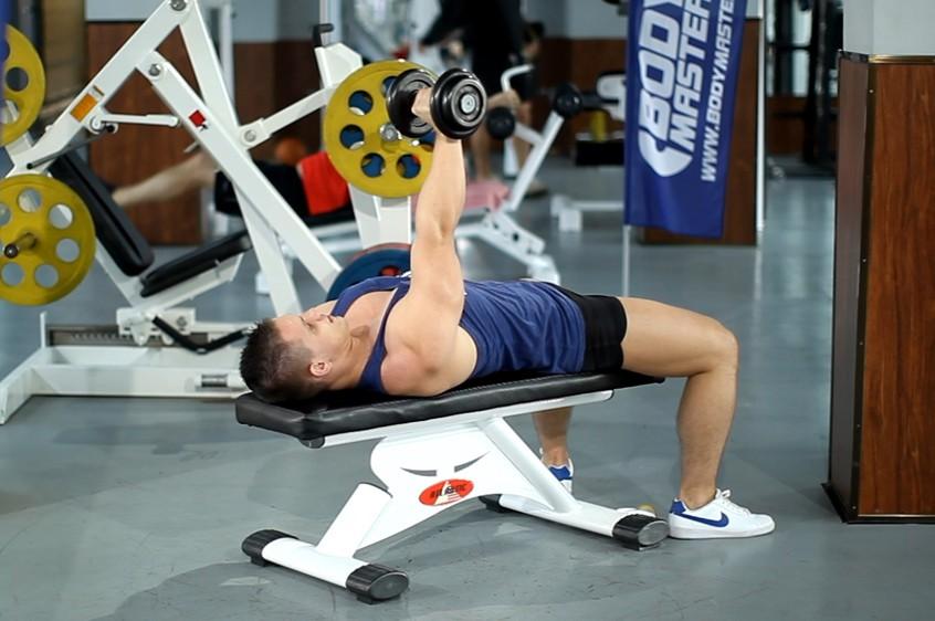 Exercise One-Arm Flat Bench Dumbbell Flye