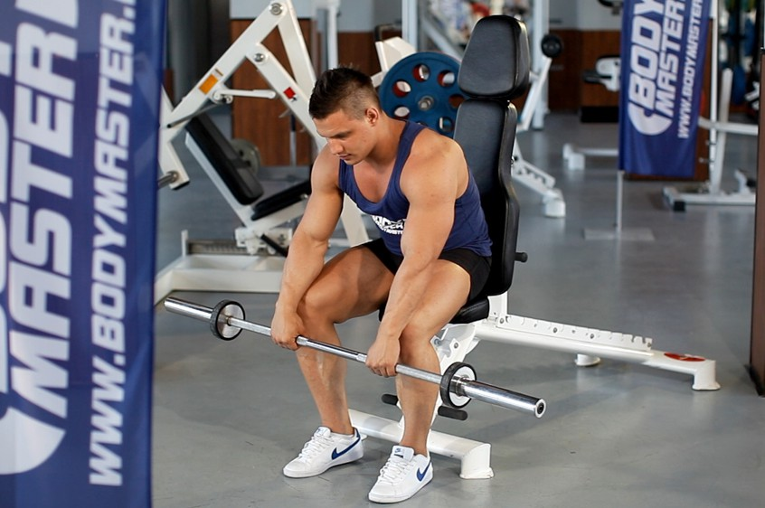 Exercise Seated Palms-Down Barbell Wrist Curl