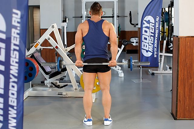 Photo of Standing Palms-Up Barbell Behind The Back Wrist Curl exercise
