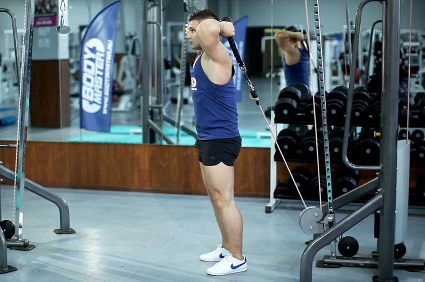 Exercise Cable Rope Overhead Triceps Extension