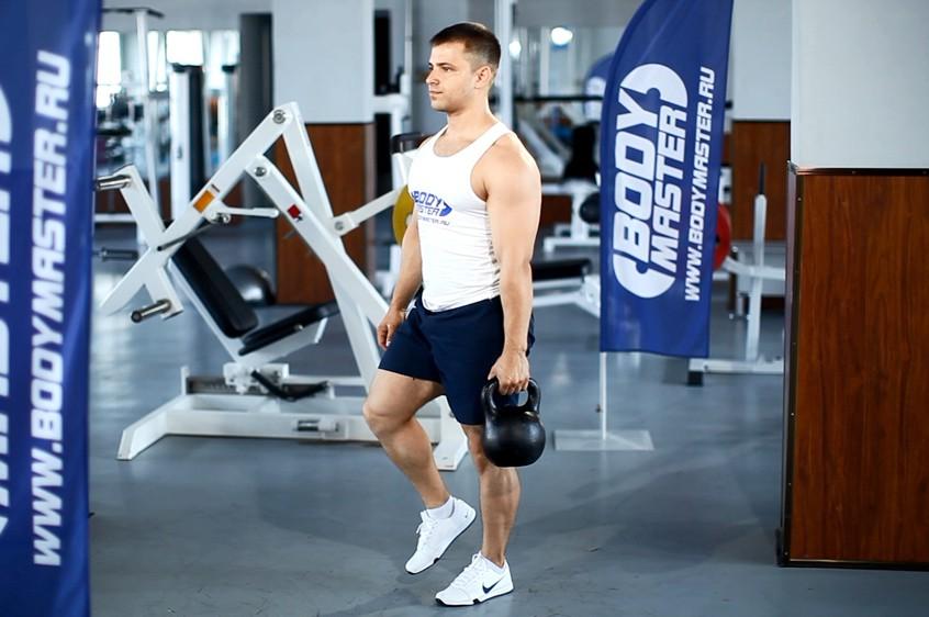 Упражнение Становая тяга с гирей стоя на одной ноге