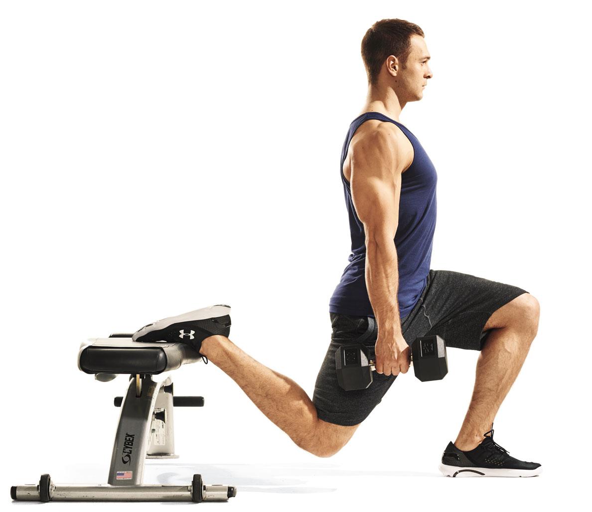 Exercise Приседания на одной ноге с гантелями