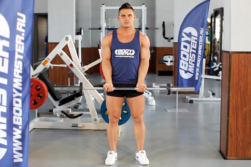 Упражнение Подъем штанги на бицепс узким хватом