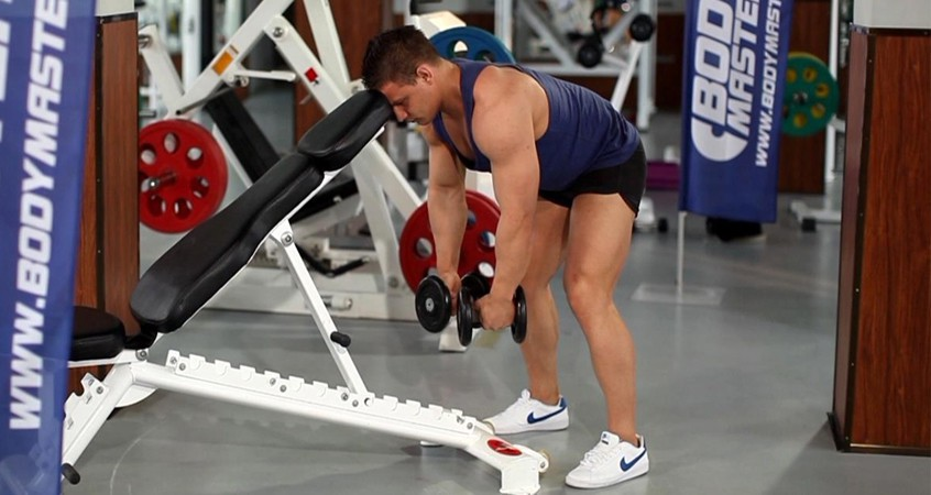 Exercise Bent Over Dumbbell Rear Delt Raise With Head On Bench