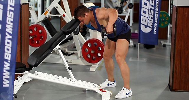 Photo of Bent Over Dumbbell Rear Delt Raise With Head On Bench exercise
