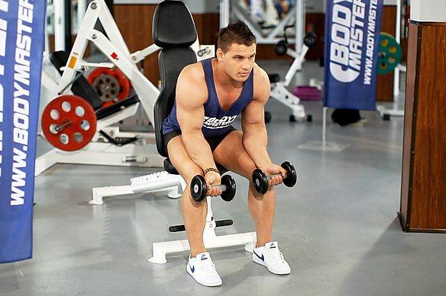 Photo of Palms-Up Dumbbell Wrist Curl Over A Bench exercise