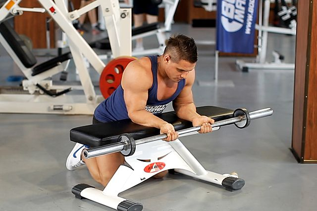 Photo of Palms-Up Barbell Wrist Curl Over A Bench exercise