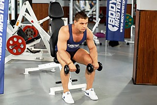 Seated Dumbbell Palms-Down Wrist Curl