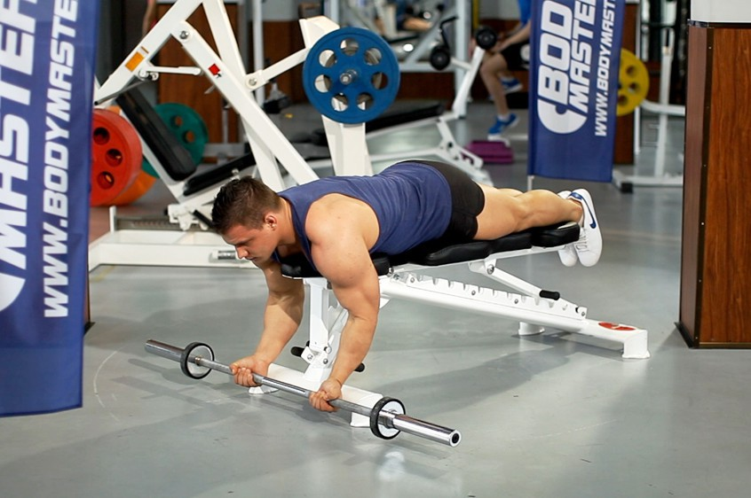 Exercise Lying High Bench Barbell Curl