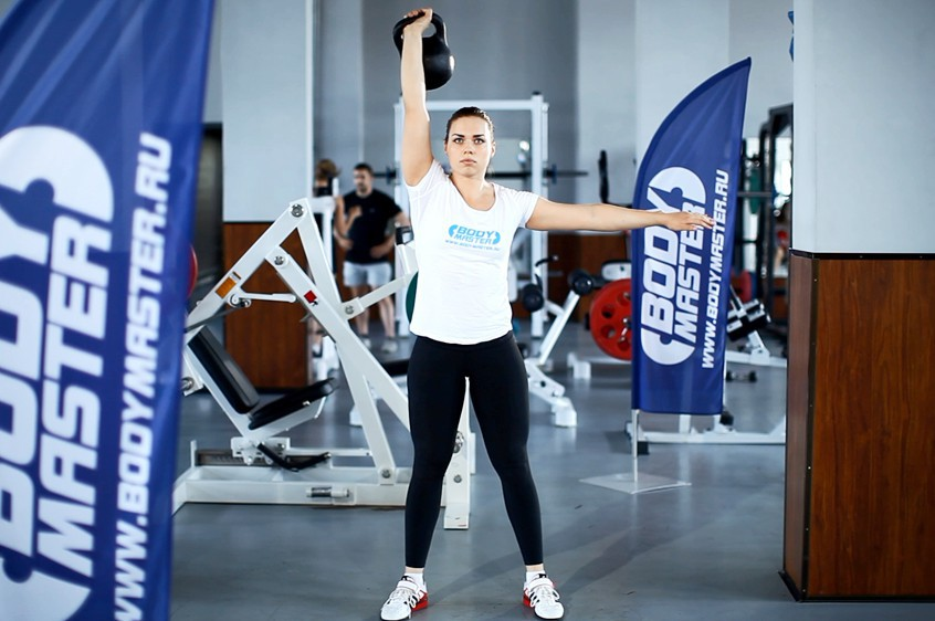 Exercise One-Arm Overhead Kettlebell Squats