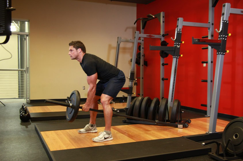 Exercise Bent Over One-Arm Long Bar Row