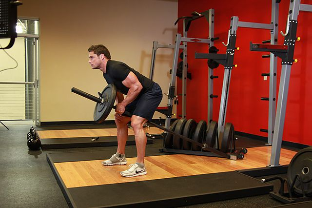Photo of Bent Over One-Arm Long Bar Row exercise