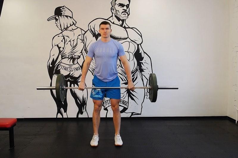 Упражнение Подъем штанги на грудь (с уровня колен)